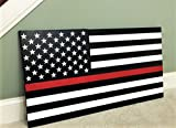 Gorgeously hand-crafted & painted wood Thin Red Line American flag / patriotic wall art Americana for Firefighters. Vintage Black and White paint give the work a somewhat weathered, aged tone. Sheathed copper wire pre-installed on the bac...