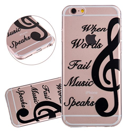 "Custodia iPhone 6, Cover iPhone 6(4.7"")- ISAKEN Ultra Sottile TPU Custodia Morbido Flessibile Protettivo Skin Trasparente Custodia UltraSlim Soft Clear Caso con Elegant Printing Drawing Nero Pattern - musica"