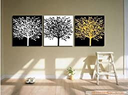 100% Hand Painted Art Large Modern Abstract Black and White Oil Painting on Canvas 3 Piece Wall Art Decor for Home Decoration Stretched Ready to Hang