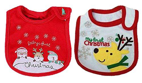 スタイ よだれかけ クリスマス 2枚組み サンタクロース トナカイ (クリスマス) CT54234