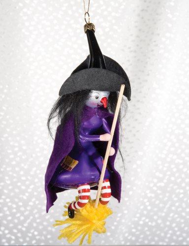 De Carlini Halloween Witch Italian Glass Mouthblown Christmas Ornament