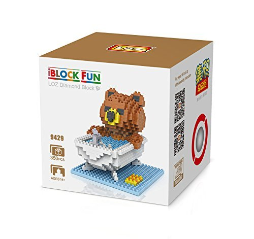 LOZ Diamond Blocks Nanoblock Brown Bear Bathing Educational Toy 350pcs