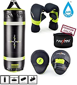 MaxxMMA Training & Fitness Heavy Bag + Neon Yellow Washable Heavy Bag Gloves L/XL & Punching Mitts + Bamboo Hand Wrap - FREE SHIPPING!