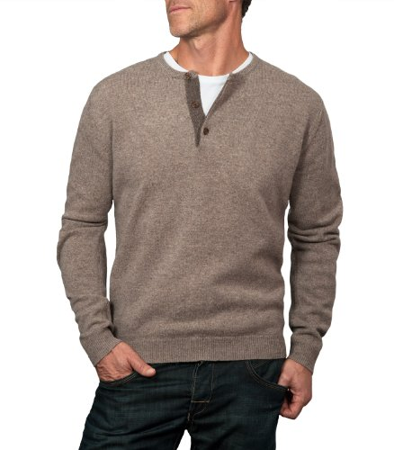 Wool Overs Mens Lambswool Button Neck Jumper
