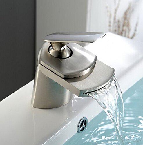 Aquafaucet Nickel Brushed Single Handle Waterfall Bathroom Sink Vessel faucet Lavatory Mixer Tap