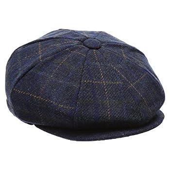 Men's Premium 100% Wool 8Panels Plaid Herringbone Newsboy Hat With MIRMARU Socks.