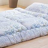 【上質な肌触り・滑らかピーチスキン加工】 届いてすぐ使える ボリューム寝具布団3点セット シングル 軽量 洗える布団 ブルー色