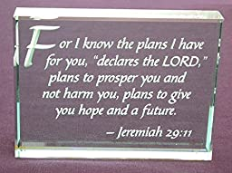 Jeremiah 29:11 Hand Carved Polished Glass Paperweight