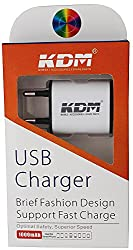 KDM ( 100% : 2.1 AMP for fast charge ) Travel Wall Charger with SmartID Technology, Indian Plug for iPhone iPad, Samsung Galaxy, HTC Nexus Moto Blackberry, Bluetooth Speaker Headset, Power Bank and More, White