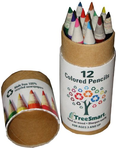 "12-pcs Mini 3.75"" 100% Recycled Newspaper Color Pencil Set in Tube"