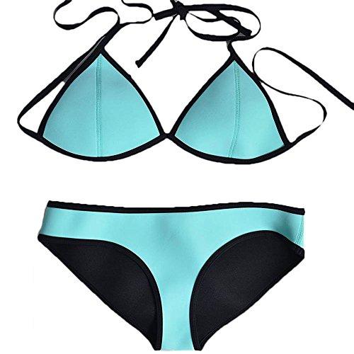 Pinkyee Damen Sexy Tauchanzug Material Neopren Bikini Set Badeanzug Badebekleidung Gr. Small, Blau - Himmelblau