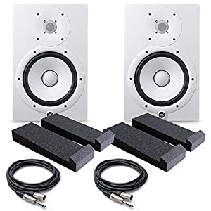 Yamaha HS8 W 8-Inch Powered Studio Monitor, White - FREE Insolation PAD (Pair) , (2) PSC XLR to 1/4 Cables 20ft ea.