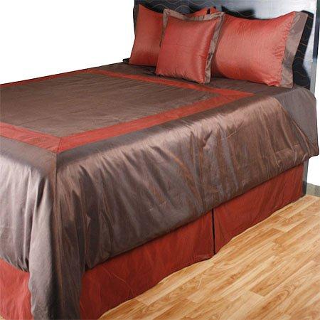 Brown and Burgundy 5pc Comforter Set, King