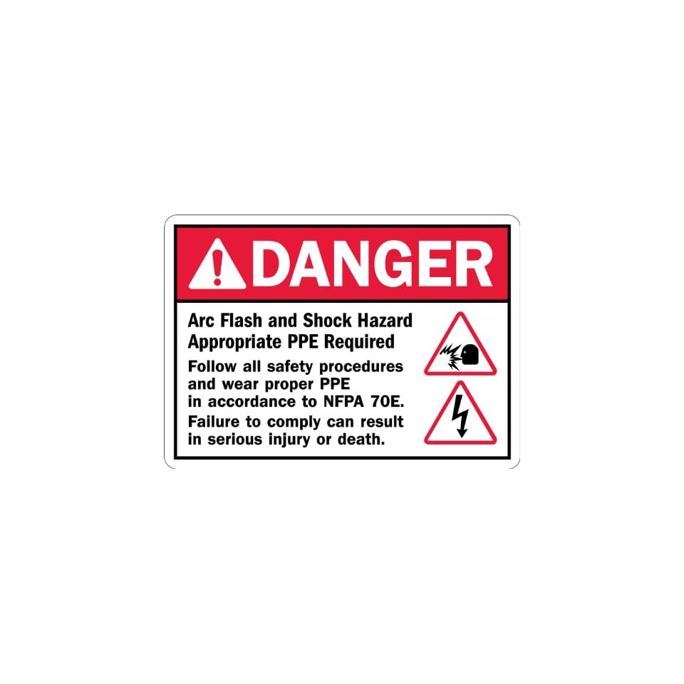 SmartSign Adhesive Vinyl Label, Legend Danger Arc Flash and Shock Hazard PPE Required with Graphic, 7 high x 10 wide, Black/Red on White