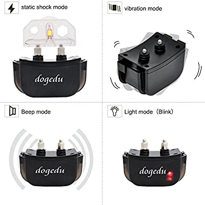 Dogedu DU518DR1 Rainproof Rechargeable LCD Display Static Virbration E-Collar Dog Leashes Training Shock Electric Electronic Collar for 1 Dog Not Anti Bark Collar