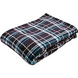 毛布 フランネル 保温 洗える 静電気防止 とろける肌触り ダブル ブラック×ブルー fondan FDFB-18200-080