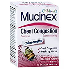 Mucinex Children's Expectorant, Chest Congestion, 100 mg, Mini-Melts, Bubble Gum Flavor, 12 packets