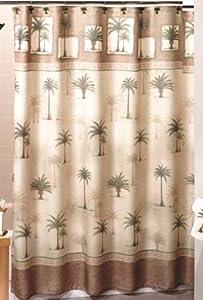 West Palm Trees Fabric Shower Curtain Palm Tree Bathroom