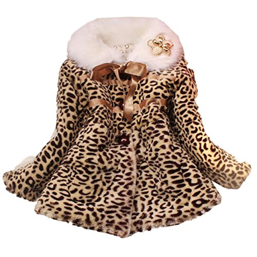 JIANLANPTT Baby Girls Leopard Faux Fur Coat Kids Winter 3Years 6,  2 3Years 6, Leopard 2