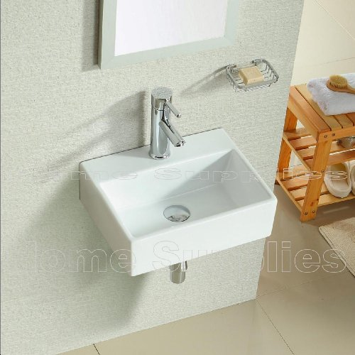 BATHROOM CLOAKROOM WALL HUNG BASIN SINK WITH TAP, WASTE AND CHROME BOTTLE TRAP