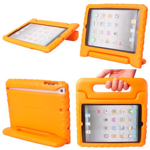Ipad Mini Case, Kids Ipad Mini Cases, By Buddibox¨ Protective, Durable Kids Ipad Mini Case Covers + Built In Stand And Carrying Handle For Ipad Mini And Ipad Mini Retina Display Fits [All Ipad Mini Models] - Orange Ipad Mini Case front-163524