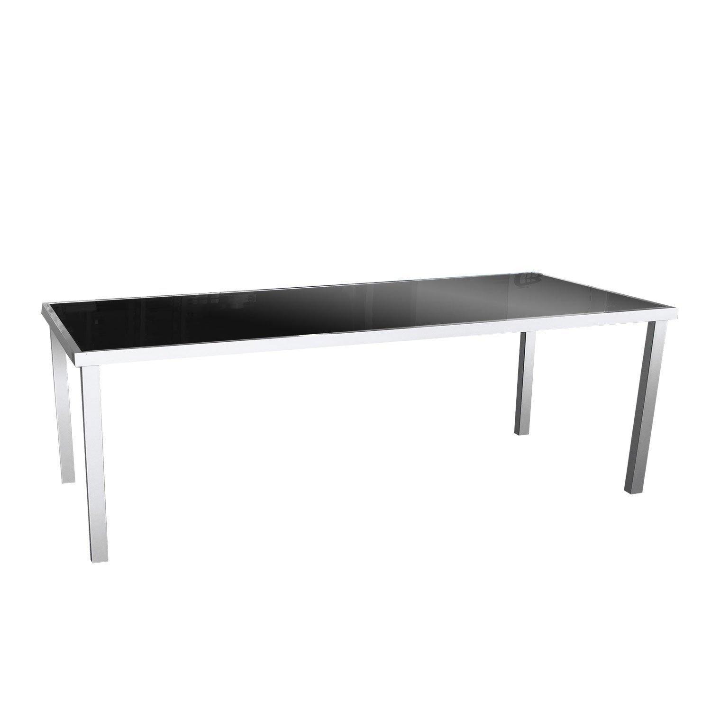 Garten-Glastisch 180x90cm Gartenmöbel Aluminium Terrassenmöbel Silbergrau/Schwarz günstig