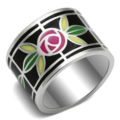 Women'S Polished Stainless Steel Multicolor Epoxy Floral Ring, Size 10