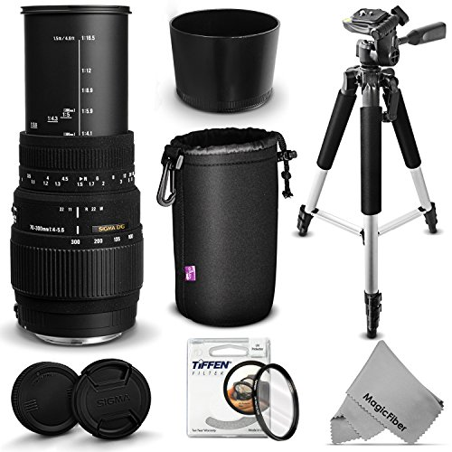 "Sigma 70-300Mm F/4-5.6 Dg Macro Telephoto Zoom Lens Kit For Nikon Dslr D7100 D7000 D5300 D5200 D5100 D5000 D3300 D3200 D3100 D3000 Cameras - Includes: Sigma 70-300Mm Telephoto Zoom Lens + 57"" Aluminum Tripod + Neoprene Lens Pouch + 58Mm Tiffen Uv Filter +"