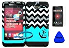 Hybrid Cover Case for Motorola Droid Razr M (Xt907, 4g Lte, Verizon) Protector Case Blue Block Chevron with Small Anchor Snap on + Black Silicone Hybrid Cover (Screen Protector, Pry Tool & Wireless Fones' Wristband Included)