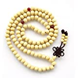 8mm 108 White Wood Beads Tibetan Buddhist Prayer Rosary Meditation Mala Necklace