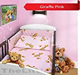 COT BUMPER 100 COTTON PADDED FOR BABY FIT COT 120x60 140x70 STRAIGHT 180cm to fit cot 120x60cm Giraffe Pink