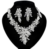 Imperial Swarovski Leaf and Floral Matinee Necklace and Earrings Set BNS25 Je...