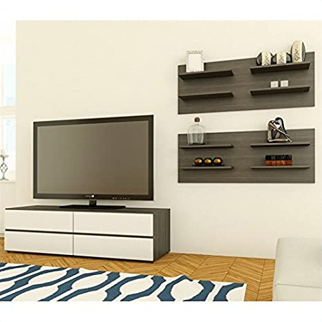 Nexera Allure TV Stand in White Lacquer & Ebony with Wall Panel