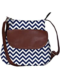 Snoogg White And Blue Strips Casual Spacious MultiPurpose Sling Bag Carry Around