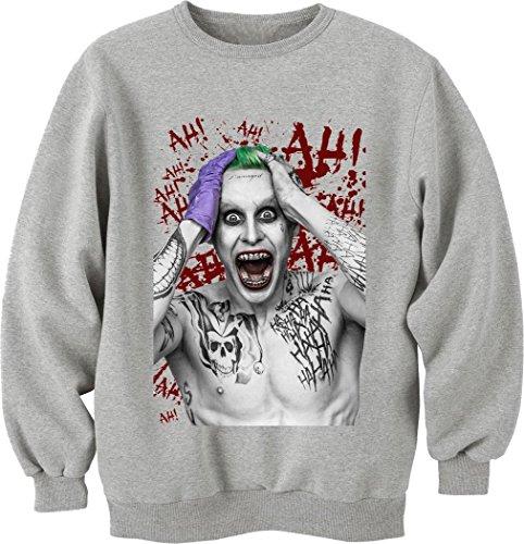 Suicide Squad Jared Leto Interiors Joker-Felpa a girocollo, Unisex grigio medium