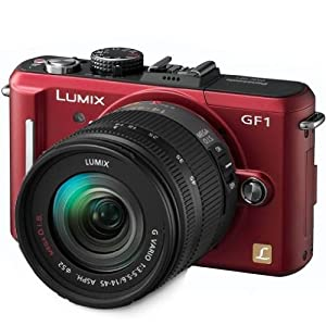 Panasonic Lumix DMC-GF1 12.1MP Micro Four-Thirds Interchangeable Lens Digital Camera with 14-45mm Lens (Red) + WSP Mini Camera Tripod.