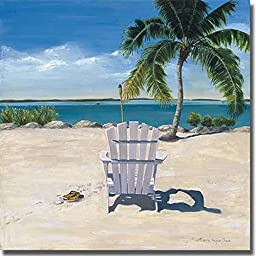 Artistic Home Gallery 2424689S Beach Chair by Laurie Chase Premium Stretched Canvas Wall Art Set