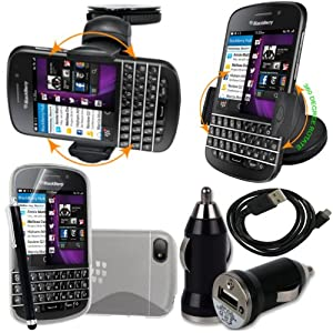 BAAS® Blackberry Q10 Support Voiture Ventouse pour Fixation sur Pare Brise Avec 360 ° Degré rotation fonction+ Housse Etui en Silicone Gel + Micro USB câble de données + USB voiture chargeur Adaptateur + Films de protection écran + Stylet