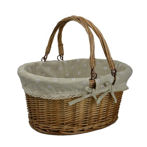 Rurality Vintage Wicker Picnic Basket with Double Folding Handles 0