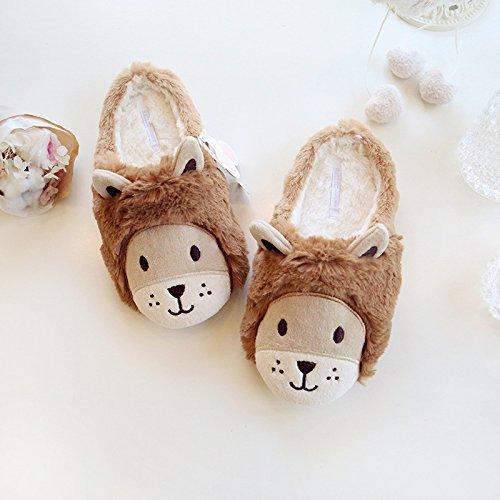 Super carino Lions caldo in autunnale e invernale le pantofole ciabatte di cotone bella coppia calda , brown , 36-37