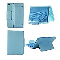 Henxlco Wireless Bluetooth Keyboard Stand Leather Case Cover For iPad Mini 2 3 4 (blue)