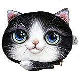 かわいい 猫顔 メイク 化粧 ポーチ しっぽ付き コインケース 小銭入れ (ハチワレ柄)