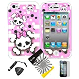 4 items Combo: ITUFFY(TM) LCD Screen Protector Film + Mini Stylus Pen + Case Opener + Pink Bow Happy Skull Black White Polka Dot Design Rubberized Hard Plastic + Soft Rubber TPU Skin Dual Layer Tough Hybrid Case for iPhone 4 4s (4th Generation) Reviews