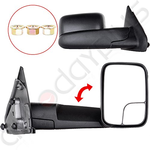 Scitoo Tow Side Mirror Pair Set For 02-08 Dodge Ram 1500 03-09 Ram 2500 3500 Full Size Pickup Truck Manual Towing Mirrors LH&RH (Tow Mirrors For Dodge Ram 1500 compare prices)