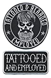Patch Squad Men's Set of Two Tattooed And Employed Bearded Embroidered Patch