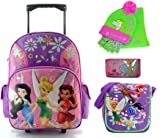Tinkerbell Back To School Bundle , 18 Inch Rolling Backpack, 8 Inch Lunch Box, 8 Inch Wallet and Beanie / Glove Set