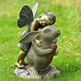 Elegant Joyful Girl Fairy With Whimsical Rabbit In Wonderland Statue Garden