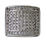 Mens DOUBLE SQUARE OF ICE Micropave A Class Silver Plated HipHop Bling Ring