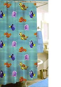 Finding nemo shower curtain w 12 hooks childrens shower curtains