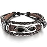 Men,Womens Alloy Genuine Leather Bracelet Bangle Cuff Silver Tone Brown Love Infinity Symbol Surfer Wrap Tribal Adjustable Fit 7~9 inch
